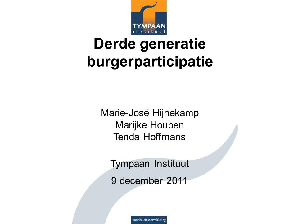 Derde generatie burgerparticipatie Marie-José Hijnekamp Marijke Houben Tenda Hoffmans Tympaan Instituut 9 december 2011