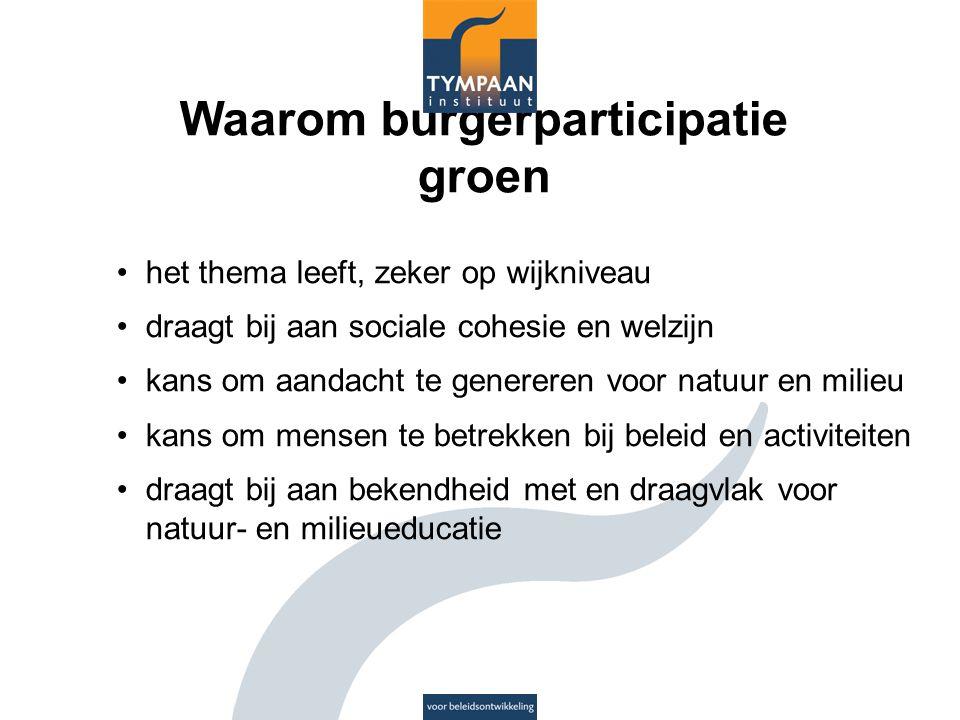 Waarom burgerparticipatie groen het thema leeft, zeker op wijkniveau draagt bij aan sociale cohesie en welzijn kans om aandacht te genereren voor natu