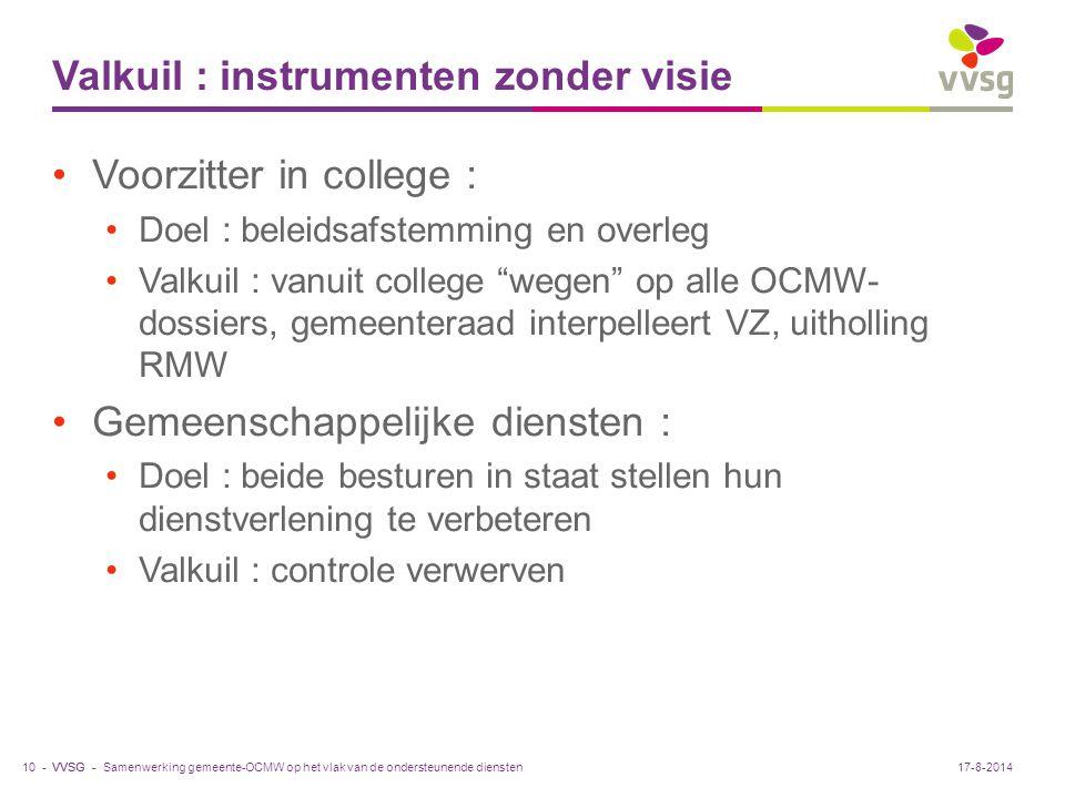 """VVSG - Valkuil : instrumenten zonder visie Voorzitter in college : Doel : beleidsafstemming en overleg Valkuil : vanuit college """"wegen"""" op alle OCMW-"""