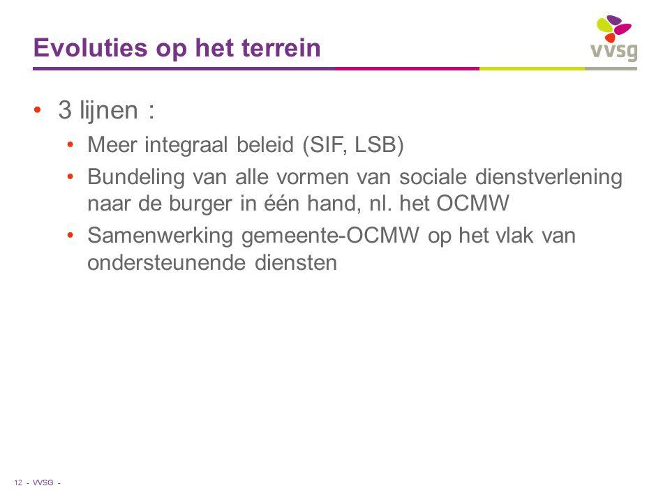 VVSG - Evoluties op het terrein 3 lijnen : Meer integraal beleid (SIF, LSB) Bundeling van alle vormen van sociale dienstverlening naar de burger in éé