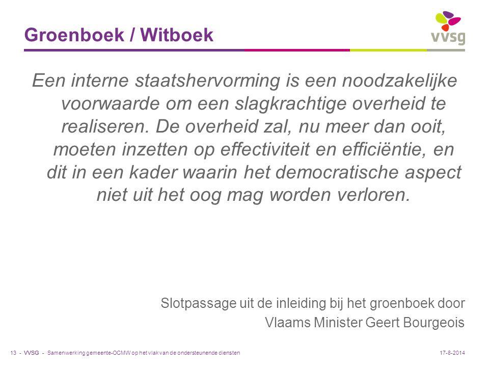 VVSG - Groenboek / Witboek Een interne staatshervorming is een noodzakelijke voorwaarde om een slagkrachtige overheid te realiseren. De overheid zal,