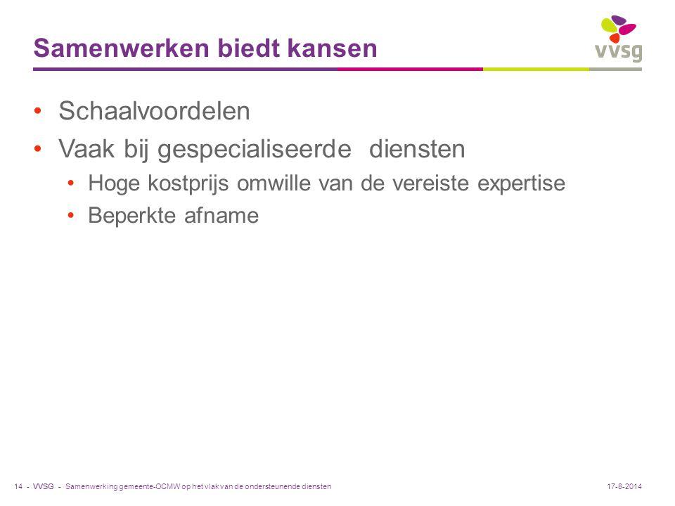 VVSG - Samenwerken biedt kansen Schaalvoordelen Vaak bij gespecialiseerde diensten Hoge kostprijs omwille van de vereiste expertise Beperkte afname Sa
