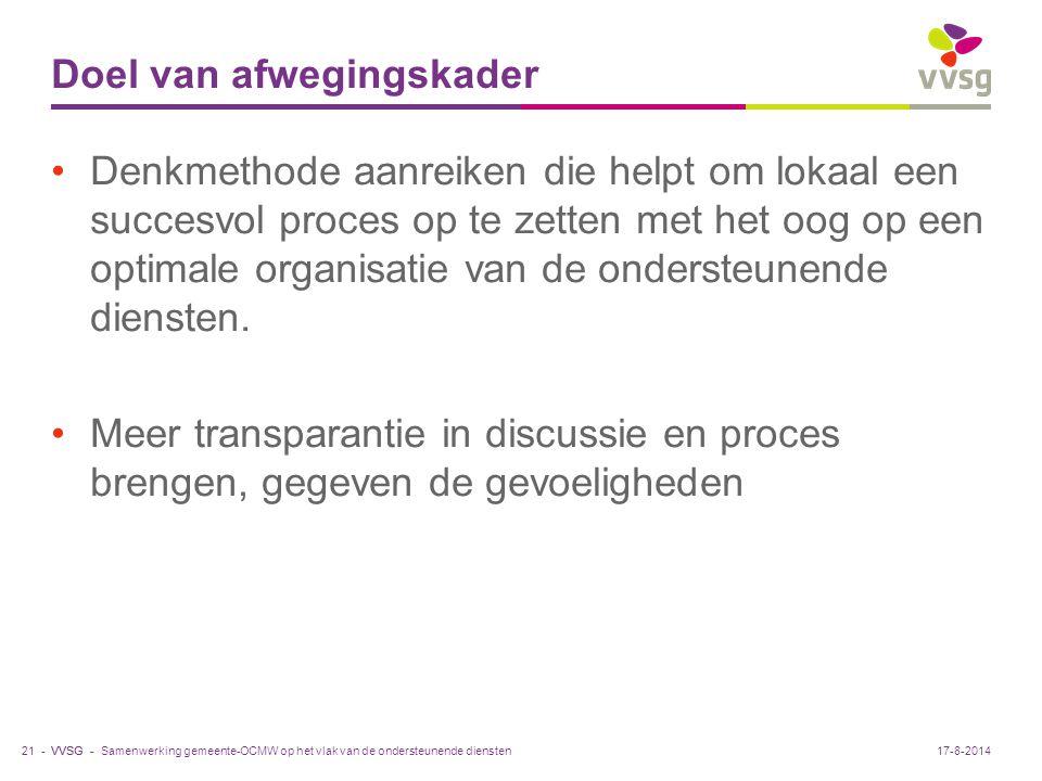 VVSG - Doel van afwegingskader Denkmethode aanreiken die helpt om lokaal een succesvol proces op te zetten met het oog op een optimale organisatie van