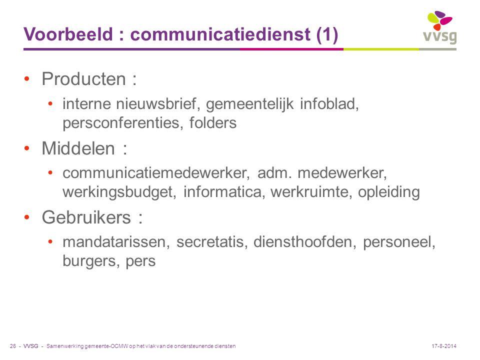 VVSG - Voorbeeld : communicatiedienst (1) Producten : interne nieuwsbrief, gemeentelijk infoblad, persconferenties, folders Middelen : communicatiemed
