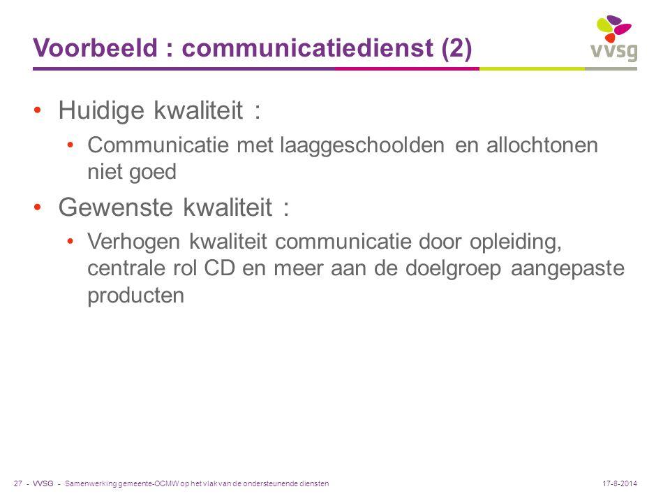 VVSG - Voorbeeld : communicatiedienst (2) Huidige kwaliteit : Communicatie met laaggeschoolden en allochtonen niet goed Gewenste kwaliteit : Verhogen
