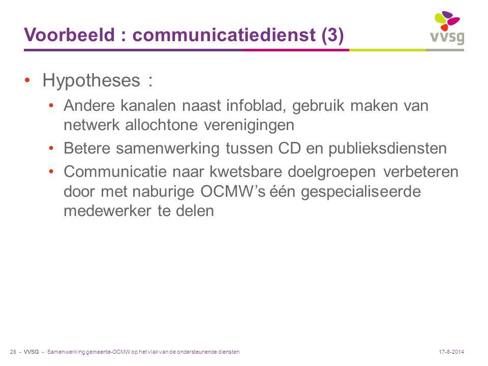 VVSG - Voorbeeld : communicatiedienst (3) Hypotheses : Andere kanalen naast infoblad, gebruik maken van netwerk allochtone verenigingen Betere samenwe