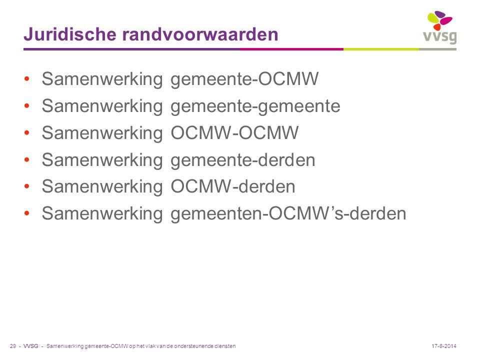 VVSG - Juridische randvoorwaarden Samenwerking gemeente-OCMW Samenwerking gemeente-gemeente Samenwerking OCMW-OCMW Samenwerking gemeente-derden Samenw