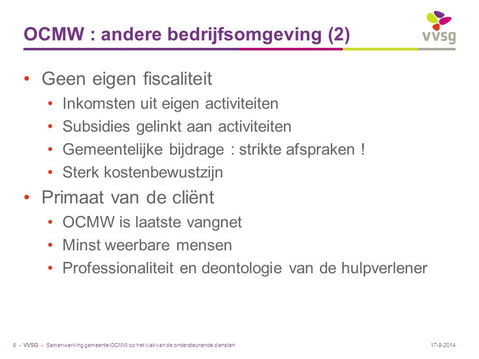 VVSG - OCMW : andere bedrijfsomgeving (2) Geen eigen fiscaliteit Inkomsten uit eigen activiteiten Subsidies gelinkt aan activiteiten Gemeentelijke bij