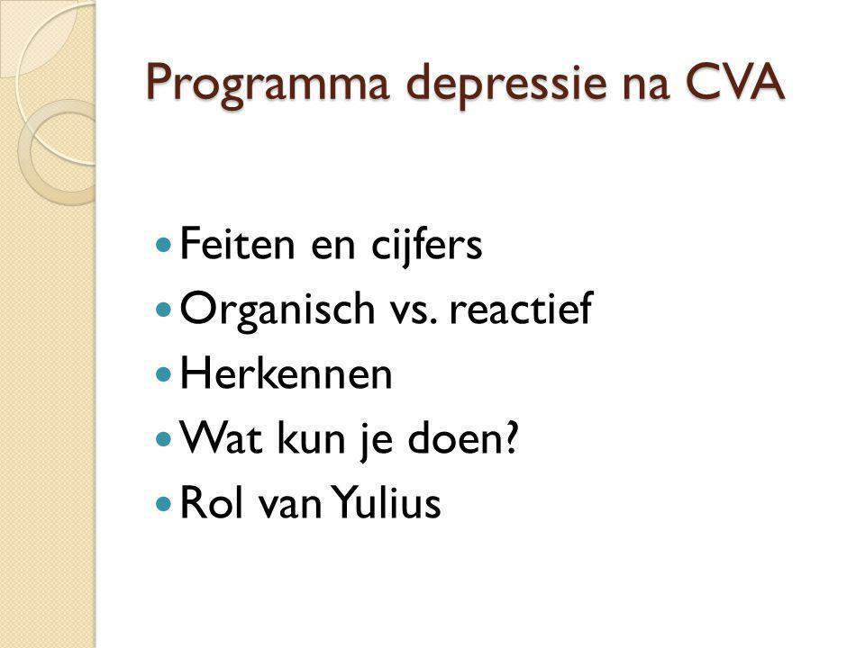 Programma depressie na CVA Feiten en cijfers Organisch vs. reactief Herkennen Wat kun je doen? Rol van Yulius