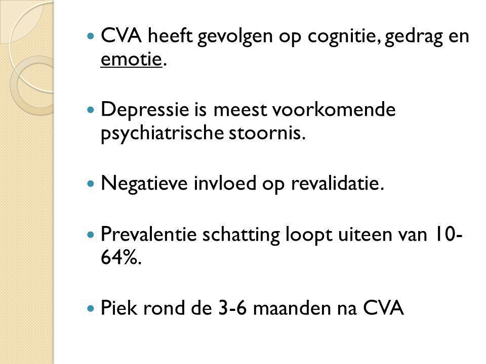 CVA heeft gevolgen op cognitie, gedrag en emotie. Depressie is meest voorkomende psychiatrische stoornis. Negatieve invloed op revalidatie. Prevalenti