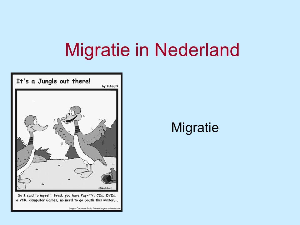 Migratie in Nederland(1) Tot 1960: urbanisatie -> migratie van platteland naar de stad; motief: werk –Push- en pullfactoren.
