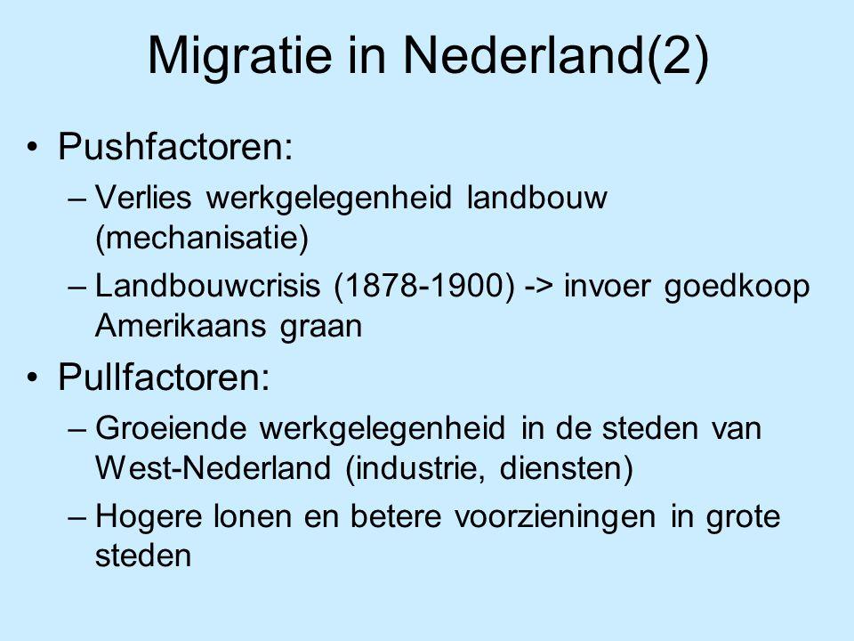 Migratie in Nederland(2) Pushfactoren: –Verlies werkgelegenheid landbouw (mechanisatie) –Landbouwcrisis (1878-1900) -> invoer goedkoop Amerikaans graa