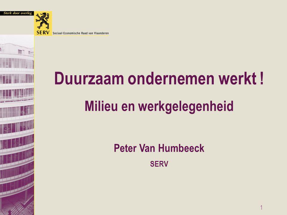1 Duurzaam ondernemen werkt ! Milieu en werkgelegenheid Peter Van Humbeeck SERV