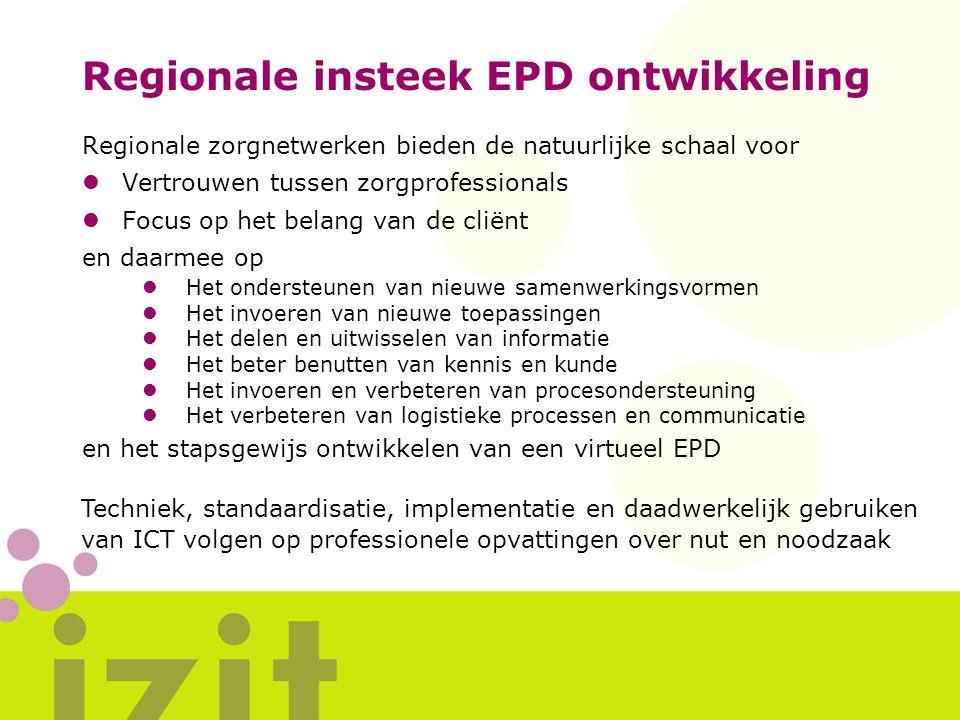 Regionale insteek EPD ontwikkeling Regionale zorgnetwerken bieden de natuurlijke schaal voor lVertrouwen tussen zorgprofessionals lFocus op het belang