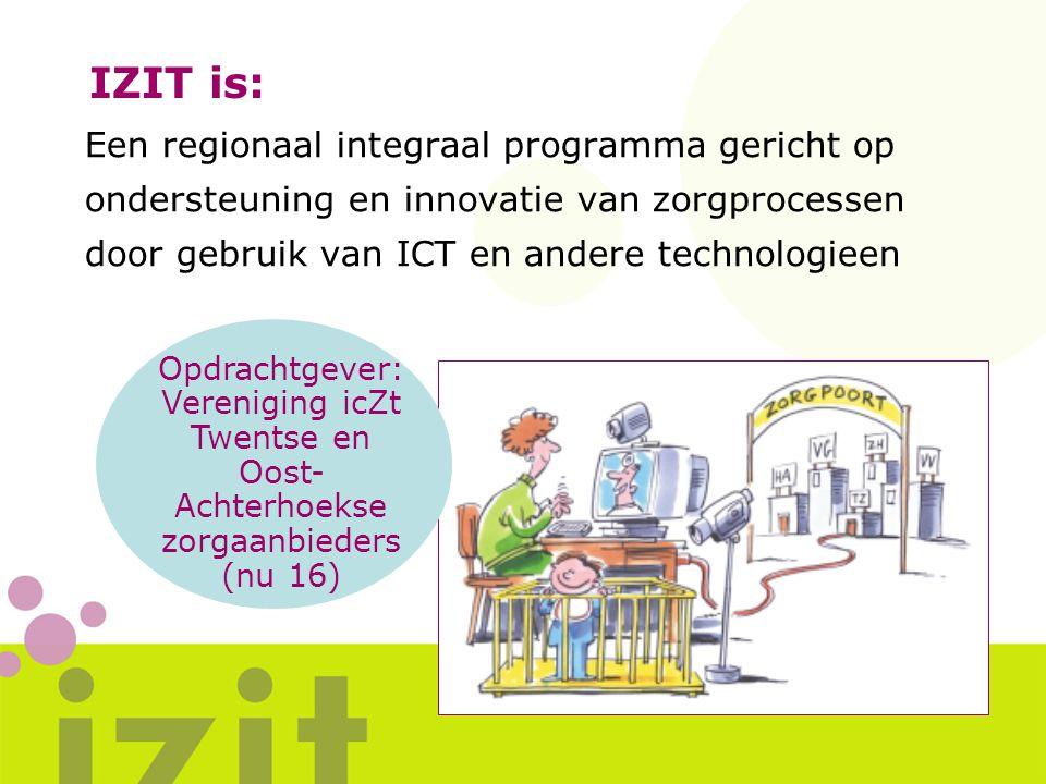 IZIT is: Een regionaal integraal programma gericht op ondersteuning en innovatie van zorgprocessen door gebruik van ICT en andere technologieen Opdrac
