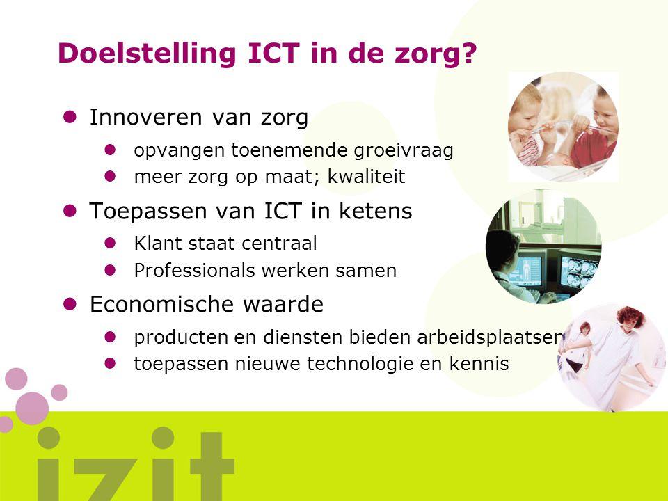 Doelstelling ICT in de zorg? lInnoveren van zorg lopvangen toenemende groeivraag lmeer zorg op maat; kwaliteit lToepassen van ICT in ketens lKlant sta