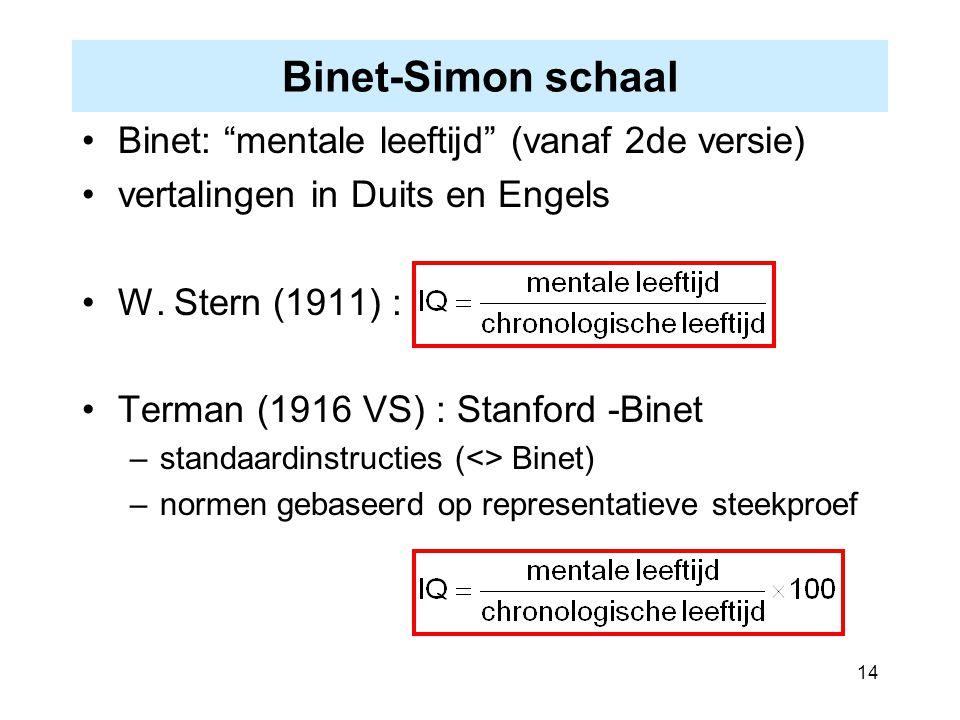 """14 Binet-Simon schaal Binet: """"mentale leeftijd"""" (vanaf 2de versie) vertalingen in Duits en Engels W. Stern (1911) : Terman (1916 VS) : Stanford -Binet"""