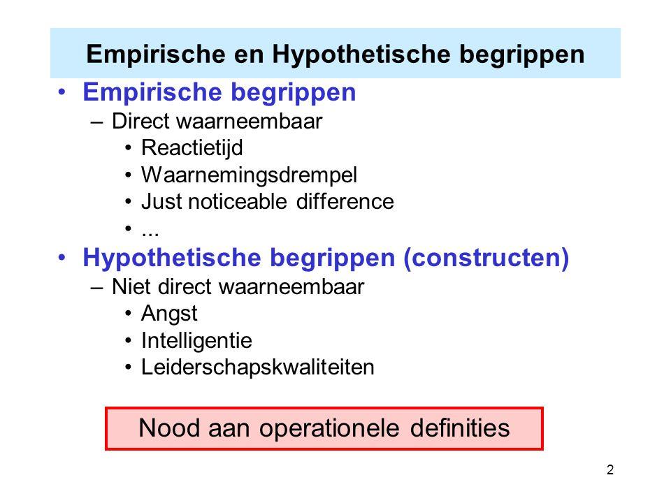 2 Empirische en Hypothetische begrippen Empirische begrippen –Direct waarneembaar Reactietijd Waarnemingsdrempel Just noticeable difference... Hypothe