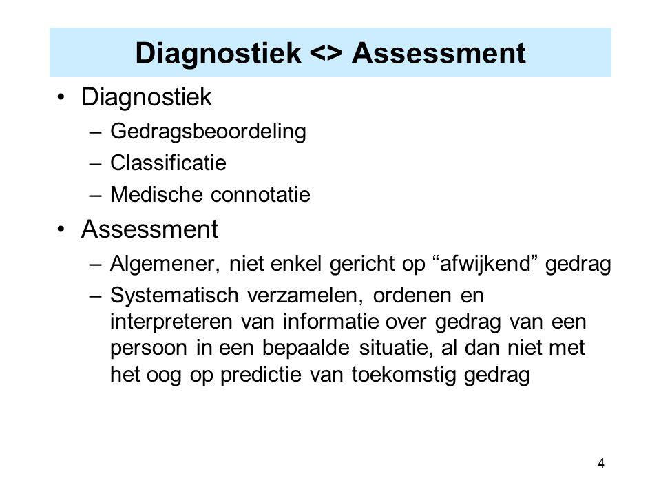 """4 Diagnostiek <> Assessment Diagnostiek –Gedragsbeoordeling –Classificatie –Medische connotatie Assessment –Algemener, niet enkel gericht op """"afwijken"""