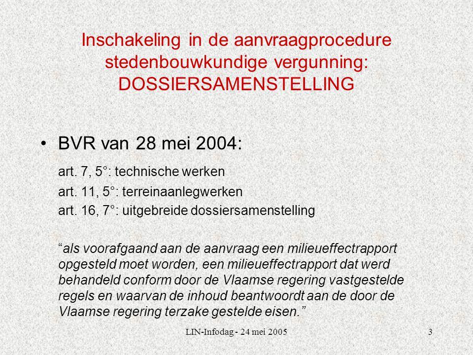 LIN-Infodag - 24 mei 20053 Inschakeling in de aanvraagprocedure stedenbouwkundige vergunning: DOSSIERSAMENSTELLING BVR van 28 mei 2004: art.