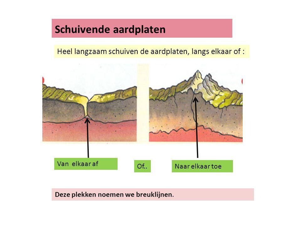 Schuivende aardplaten Heel langzaam schuiven de aardplaten, langs elkaar of : Van elkaar af Naar elkaar toeOf.. Deze plekken noemen we breuklijnen.