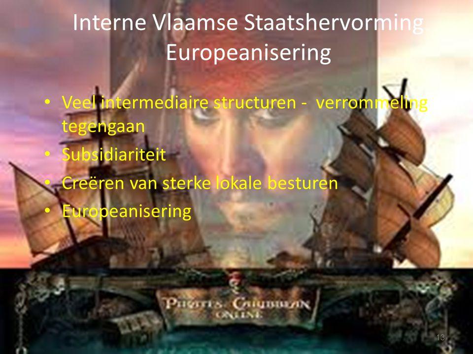 Interne Vlaamse Staatshervorming Europeanisering Veel intermediaire structuren - verrommeling tegengaan Subsidiariteit Creëren van sterke lokale besturen Europeanisering 13