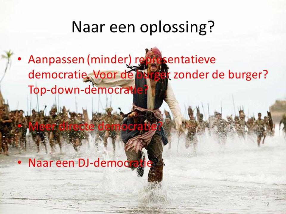 Naar een oplossing? Aanpassen (minder) representatieve democratie. Voor de burger zonder de burger? Top-down-democratie? Meer directe democratie? Naar