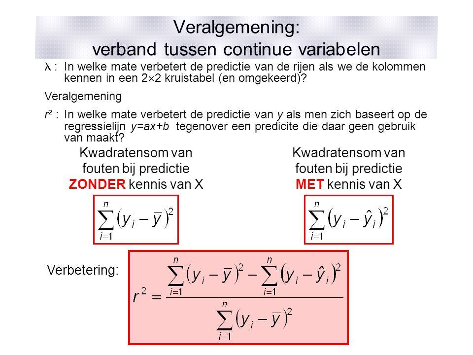 Veralgemening: verband tussen continue variabelen :In welke mate verbetert de predictie van de rijen als we de kolommen kennen in een 2  2 kruistabel