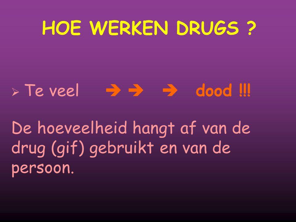 HOE WERKEN DRUGS ?  Te veel   dood !!! De hoeveelheid hangt af van de drug (gif) gebruikt en van de persoon.