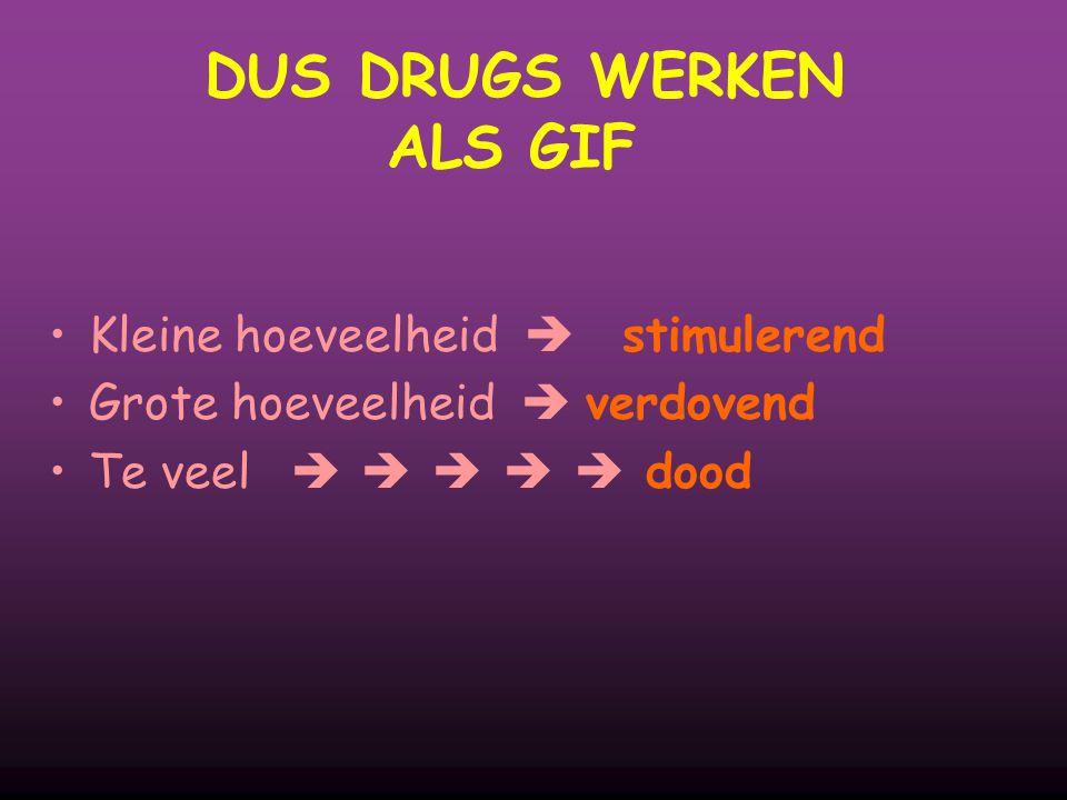 DUS DRUGS WERKEN ALS GIF Kleine hoeveelheid  stimulerend Grote hoeveelheid  verdovend Te veel      dood