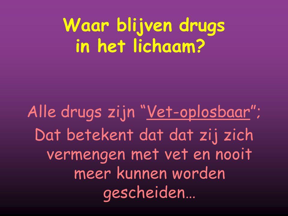 """Waar blijven drugs in het lichaam? Alle drugs zijn """"Vet-oplosbaar""""; Dat betekent dat dat zij zich vermengen met vet en nooit meer kunnen worden gesche"""