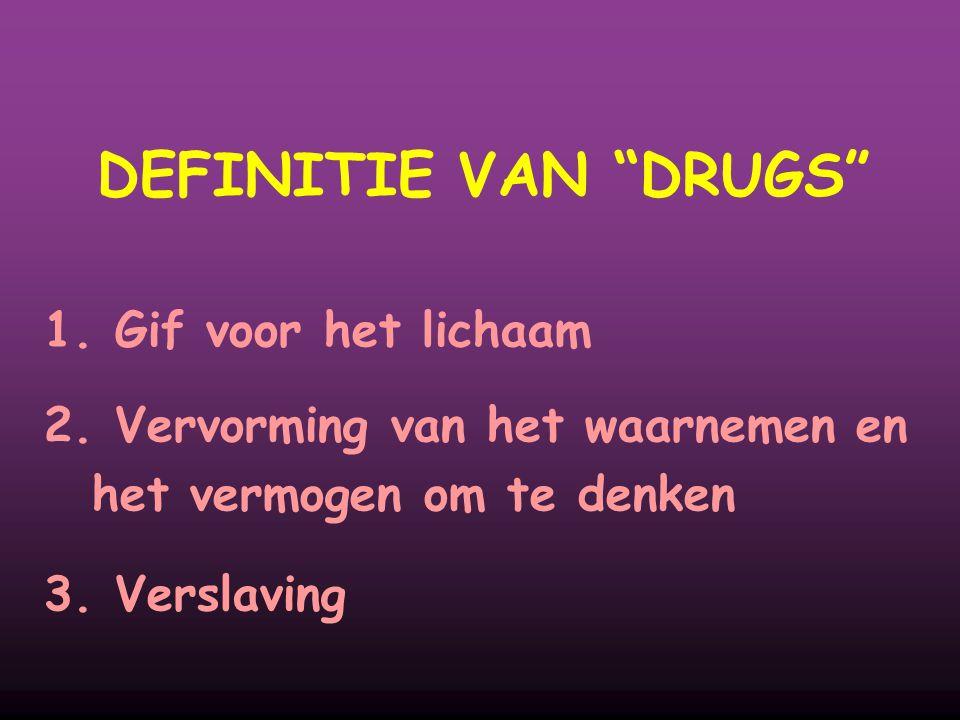 """DEFINITIE VAN """"DRUGS"""" 1. Gif voor het lichaam 2. Vervorming van het waarnemen en het vermogen om te denken 3. Verslaving"""