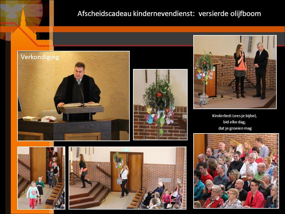 Afscheidscadeau kindernevendienst: versierde olijfboom Kinderlied: Lees je bijbel, bid elke dag, dat je groeien mag Verkondiging