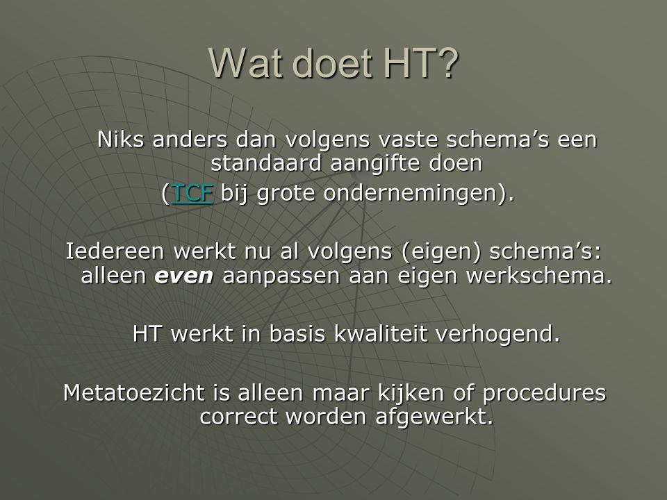 Wat is HT?  Samenwerken vanuit vertrouwen: Verhoging doorloopsnelheid (overheid)Verhoging doorloopsnelheid (overheid) Verhoging kwaliteit bij adviseu