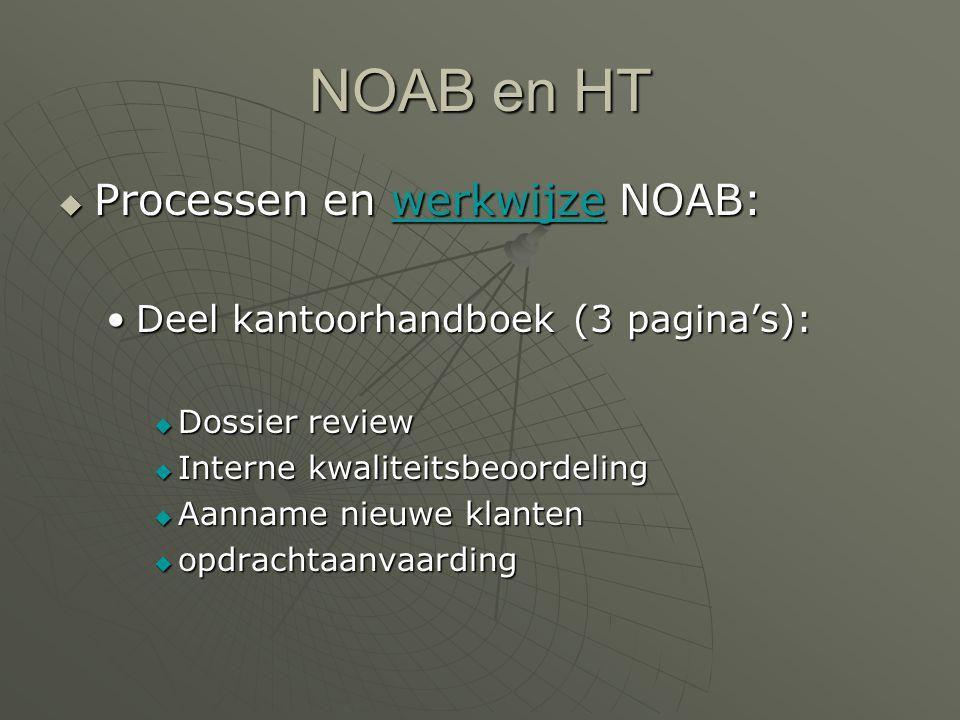 NOAB en HT  Processen en werkwijze NOAB: werkwijze Deel kantoorhandboek (3 pagina's):Deel kantoorhandboek (3 pagina's):  Dossier review  Interne kwaliteitsbeoordeling  Aanname nieuwe klanten  opdrachtaanvaarding