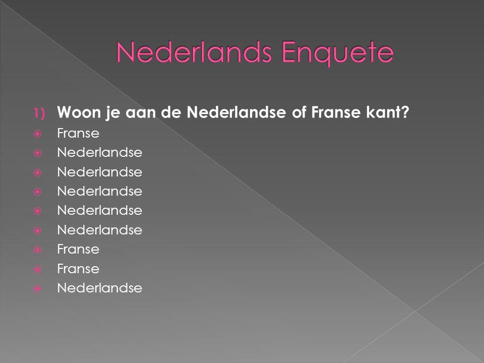 1) Woon je aan de Nederlandse of Franse kant?  Franse  Nederlandse  Franse  Nederlandse