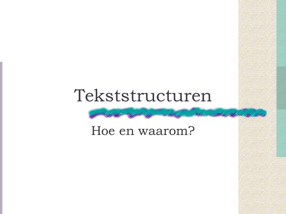 Tekststructuren Hoe en waarom?