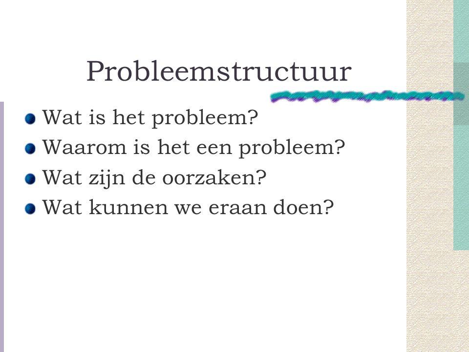 Probleemstructuur Wat is het probleem.Waarom is het een probleem.