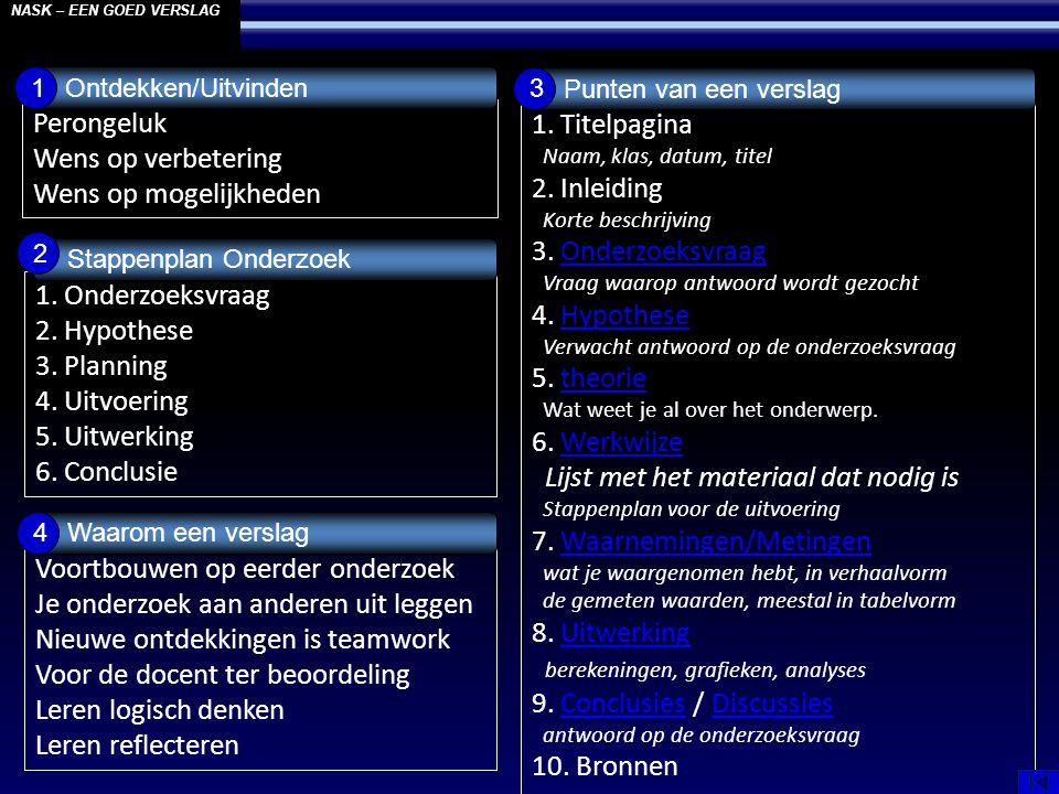 Perongeluk Wens op verbetering Wens op mogelijkheden NASK – EEN GOED VERSLAG Ontdekken/Uitvinden 1 1.
