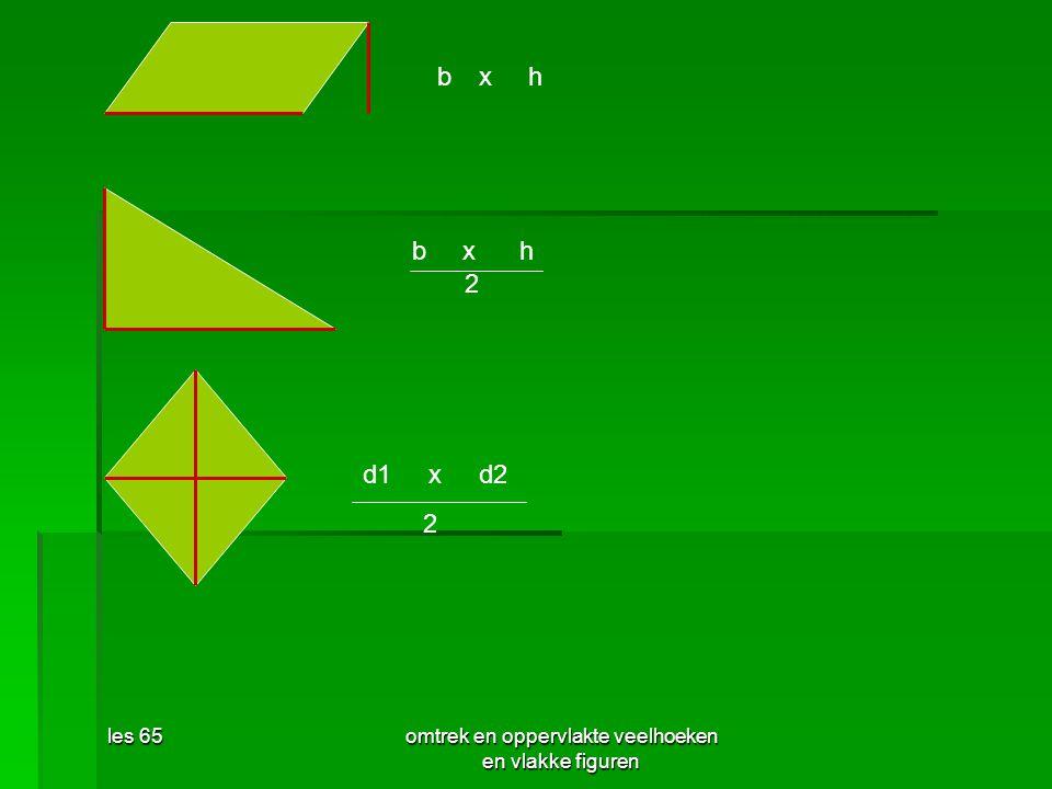 les 65omtrek en oppervlakte veelhoeken en vlakke figuren bxh bxh 2 d1xd2 2