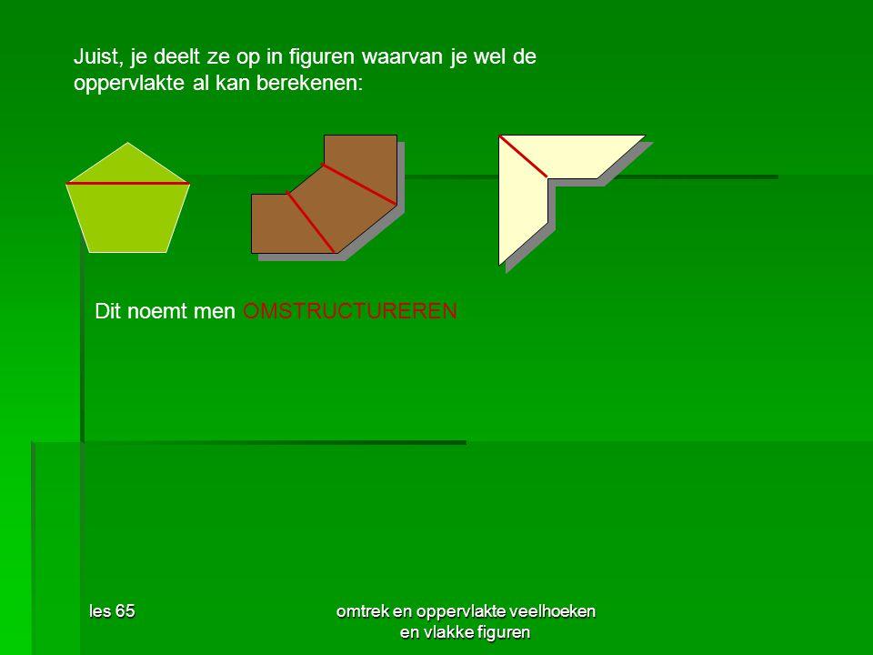 les 65omtrek en oppervlakte veelhoeken en vlakke figuren Juist, je deelt ze op in figuren waarvan je wel de oppervlakte al kan berekenen: Dit noemt me