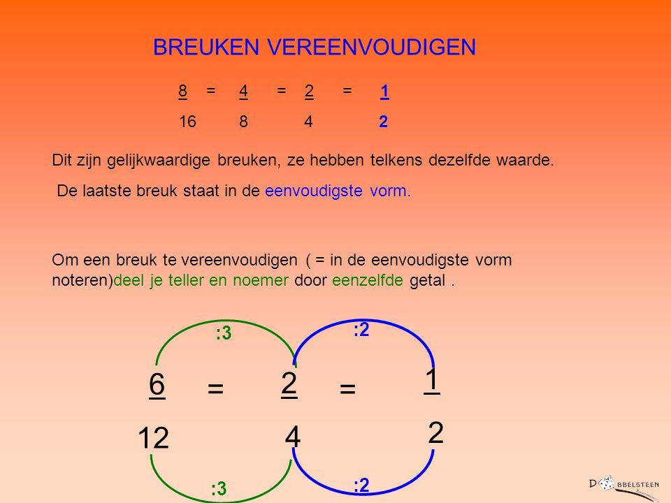 BREUKEN VEREENVOUDIGEN Dit zijn gelijkwaardige breuken, ze hebben telkens dezelfde waarde. De laatste breuk staat in de eenvoudigste vorm. 8 = 4 = 2 =