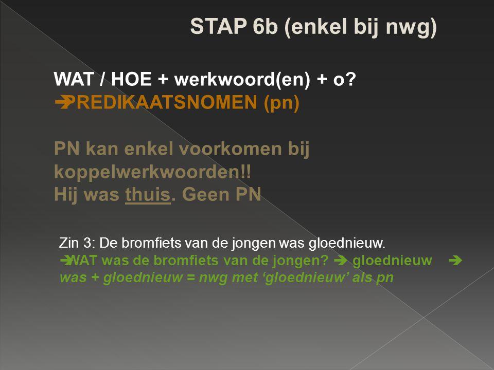 STAP 6b (enkel bij nwg) WAT / HOE + werkwoord(en) + o?  PREDIKAATSNOMEN (pn) PN kan enkel voorkomen bij koppelwerkwoorden!! Hij was thuis. Geen PN Zi