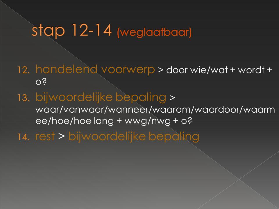 12. handelend voorwerp > door wie/wat + wordt + o? 13. bijwoordelijke bepaling > waar/vanwaar/wanneer/waarom/waardoor/waarm ee/hoe/hoe lang + wwg/nwg