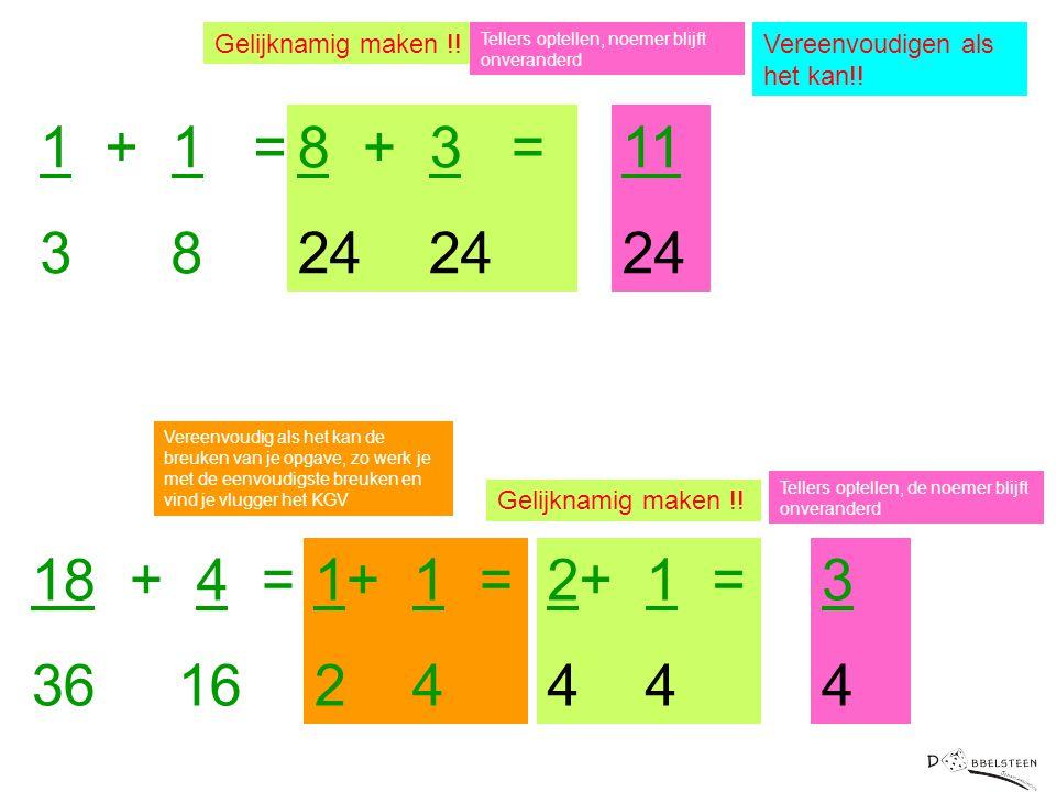 1 + 1 = 3 8 Gelijknamig maken !! 8 + 3 = 24 11 24 Vereenvoudigen als het kan!! Tellers optellen, noemer blijft onveranderd 18 + 4 = 36 16 Vereenvoudig