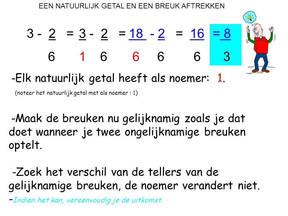 EEN NATUURLIJK GETAL EN EEN BREUK AFTREKKEN 3 - 2 = 6 - Elk natuurlijk getal heeft als noemer: 1. (noteer het natuurlijk getal met als noemer : 1) - M