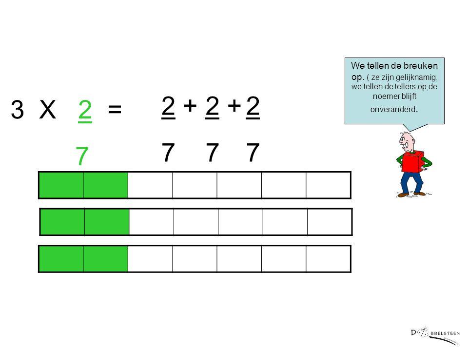3 X 2 = 7 2 + 7 2 + 7 2 7 We tellen de breuken op. ( ze zijn gelijknamig, we tellen de tellers op,de noemer blijft onveranderd.