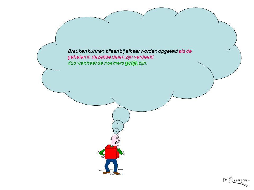 Breuken kunnen alleen bij elkaar worden opgeteld als de gehelen in dezelfde delen zijn verdeeld dus wanneer de noemers gelijk zijn.