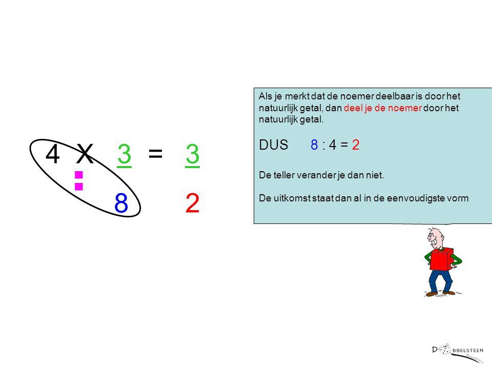 Er is nog een tweede manier om een natuurlijk getal met een breuk te vermenigvuldigen Als je merkt dat de noemer deelbaar is door het natuurlijk getal