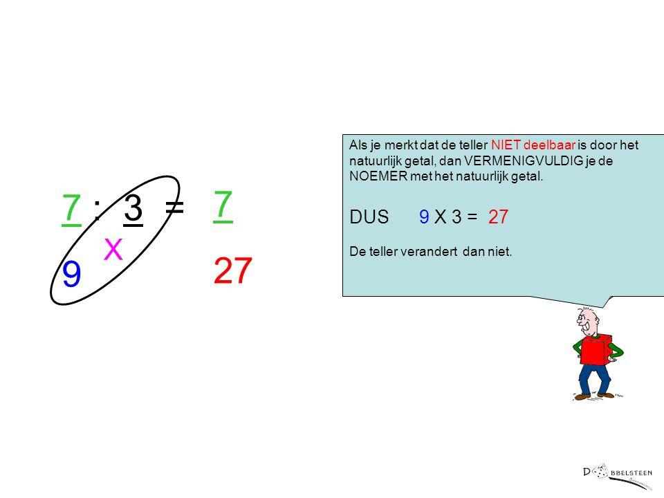 Er is nog een tweede manier om een natuurlijk getal met een breuk te vermenigvuldigen Als je merkt dat de teller NIET deelbaar is door het natuurlijk